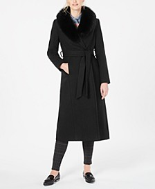 Fox-Fur-Collar Belted Maxi Wrap Coat