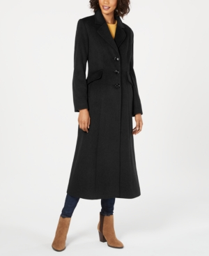 1930s Style Coats, Jackets | Art Deco Outerwear Forecaster Notched-Collar Maxi Walker Coat $239.99 AT vintagedancer.com