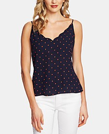Tropic Dots Scalloped V-Neck Camisole Top
