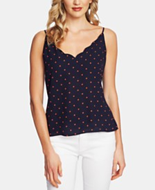 CeCe Tropic Dots Scalloped V-Neck Camisole Top