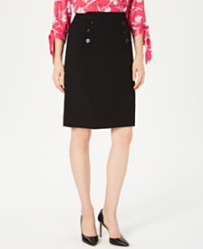Nine West Sailor-Button Skirt