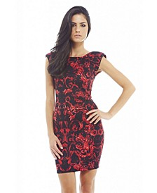 Colouful Floral Printed Bodycon Dress
