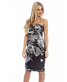 AX Paris Two Colour Way Sequin Strapless Notch Dress