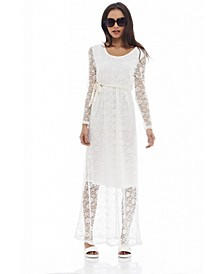 Lace Long Sleeved Maxi Dress