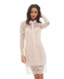 AX Paris Long Sleeve Lace Shirt Dress