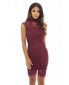 AX Paris High Neck Capped Sleeve Lace Bodycon Dress