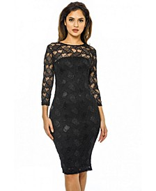 Sequin 3/4 Sleeve Bodycon Dress