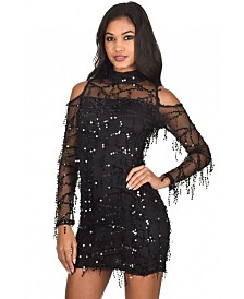 AX Paris Long Sleeve Sequin Cut Out Dress