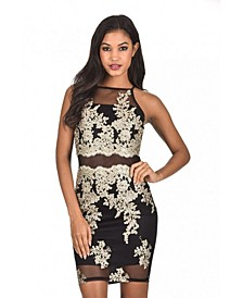 Back and Gold Mesh Embroidered Dress