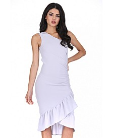 Asymmetric Side Ruched Dress