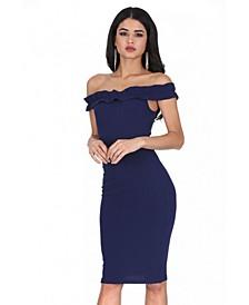 Ruffle Bardot Midi Dress
