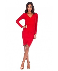 AX Paris Ruched Sleeved Dress