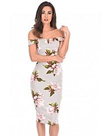 Notch Front Off the Shoulder Floral Midi Dress