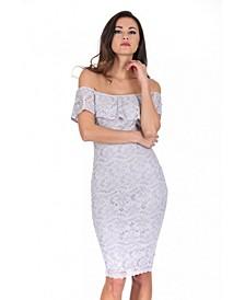 Ruffled Off the Shoulder Lace Midi Dress