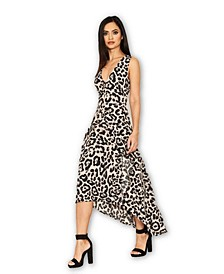 Leopard Print Frill Midi Dress