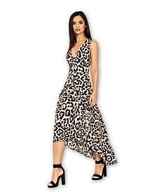 AX Paris Leopard Print Frill Midi Dress
