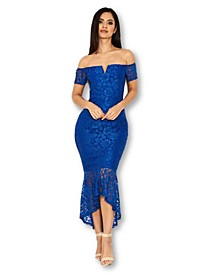 Lace Bardot Fishtail Dress