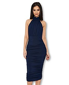 Women's High Neck Ruched Bodycon Midi Dress