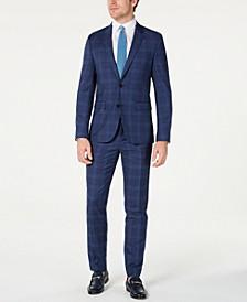 HUGO Hugo Boss Men's Slim-Fit Open Blue Check Suit Separates
