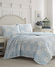 Laura Ashley Kenna Blue Quilt Set, Full/Queen