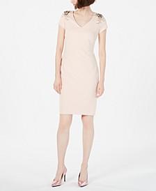 V-Neck Embellished Sheath Dress