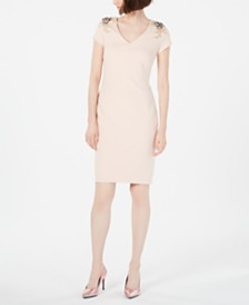 Calvin Klein V-Neck Embellished Sheath Dress