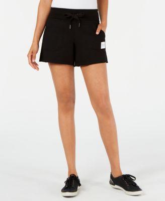 Ribbed-Waist Raw-Hem Shorts