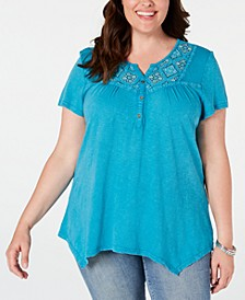 Plus Size Cotton Embroidered Handkerchief-Hem Top, Created for Macy's