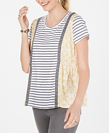 Petite Mixed-Print Striped T-Shirt Created for Macy's