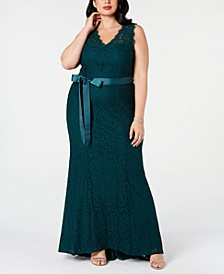 Plus Size Ribbon-Belt Lace Gown