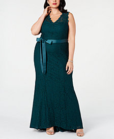 Adrianna Papell Plus Size Ribbon-Belt Lace Gown