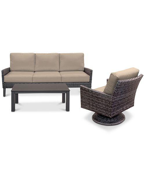Stupendous Amari Pepper Outdoor 3 Pc Seating Set 1 Sofa 1 Swivel Chair 1 Coffee Table With Sunbrella Cushions Spiritservingveterans Wood Chair Design Ideas Spiritservingveteransorg