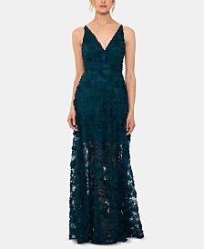 Xscape Petite Floral-Lace Illusion Gown