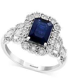 EFFY® Sapphire (1-1/2 ct. t.w.) & Diamond (1/3 ct. t.w.) Statement Ring in 14k White Gold