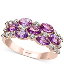 EFFY® Purple Sapphire (1-7/8 ct. t.w.) & Diamond (1/3 ct. t.w.) Statement Ring in 14k Rose Gold