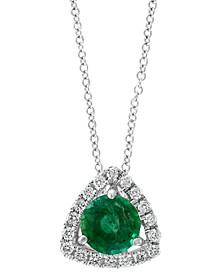 """EFFY® Emerald (3/4 ct. t.w.) & Diamond (1/8 ct. t.w) 18"""" Pendant Necklace in 14k White Gold"""