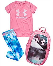 Under Armour Big Girls Logo Solid T-Shirt, Cropped Leggings & Scrimmage Backpack Separates