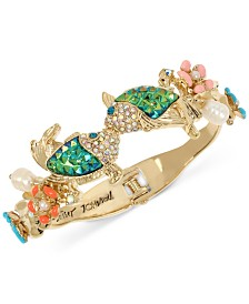 Betsey Johnson Gold-Tone Crystal Kissing Fish Hinged Bangle Bracelet
