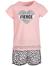 Little Girls Mesh-Hem T-Shirt & Leopard-Print Shorts Separates, Created for Macy's
