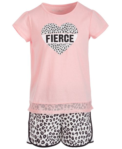 Ideology Toddler Girls Mesh-Hem T-Shirt & Leopard-Print Shorts Separates, Created for Macy's