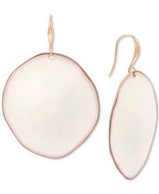 Gold-Tone Patina Sculptural Disc Drop Earrings