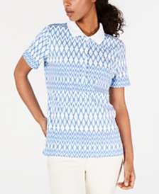 Tommy Hilfiger Cotton Printed Polo Top, Created for Macy's