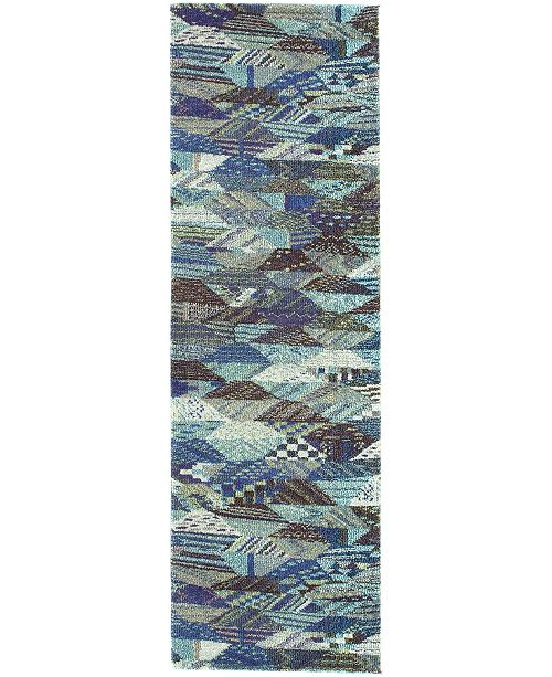 "Bridgeport Home CLOSEOUT! Arcata Arc4 Blue 2' 2"" x 6' 7"" Runner Area Rug"