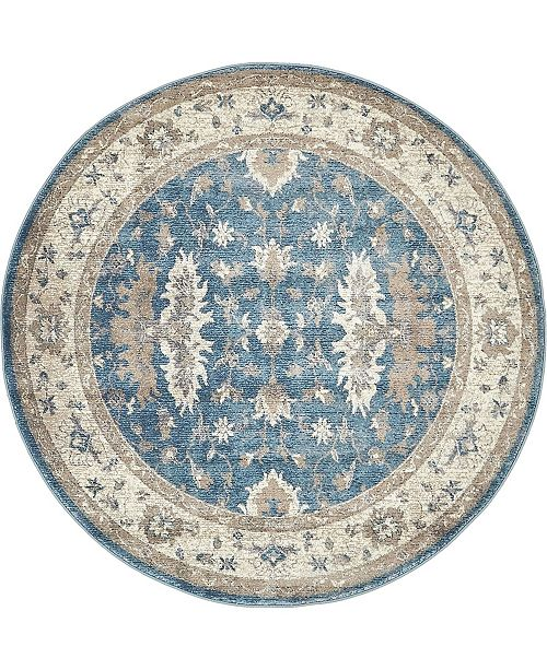 Bridgeport Home Bellmere Bel5 Light Blue 5' x 5' Round Area Rug