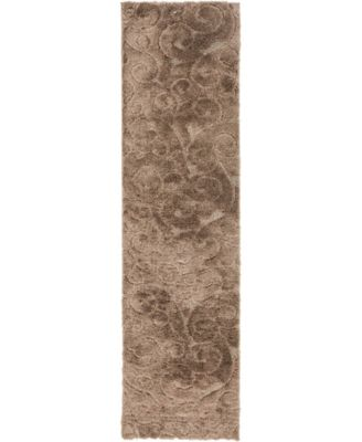 "Malloway Shag Mal1 Brown 2' 7"" x 10' Runner Area Rug"