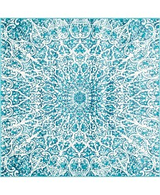 Bridgeport Home Basha Bas4 Turquoise 6' x 6' Square Area Rug