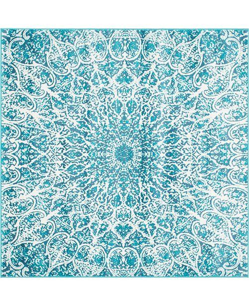 Bridgeport Home Basha Bas4 Turquoise 6' x 6' Square Area Rug