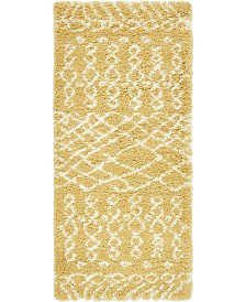 "Bridgeport Home Fazil Shag Faz2 Yellow 2' 7"" x 6' Runner Area Rug"