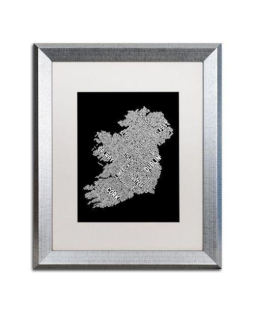 """Trademark Global Michael Tompsett 'Ireland Eire City Text Map B&W' Matted Framed Art - 16"""" x 20"""""""