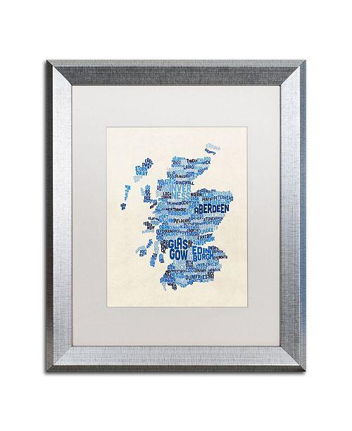 "Trademark Global Michael Tompsett 'Scotland Typography Text Map 2' Matted Framed Art - 16"" x 20"""